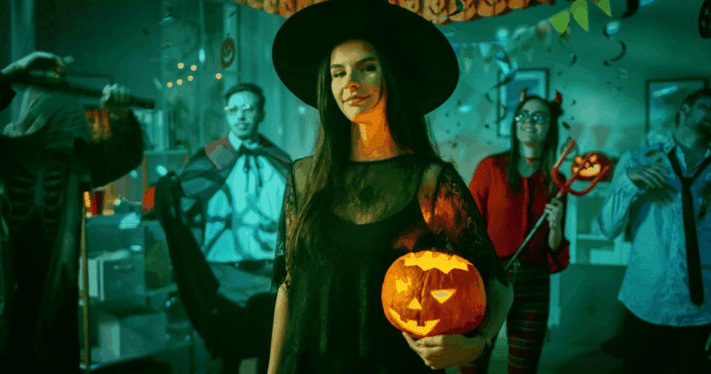 People celebrating Halloween